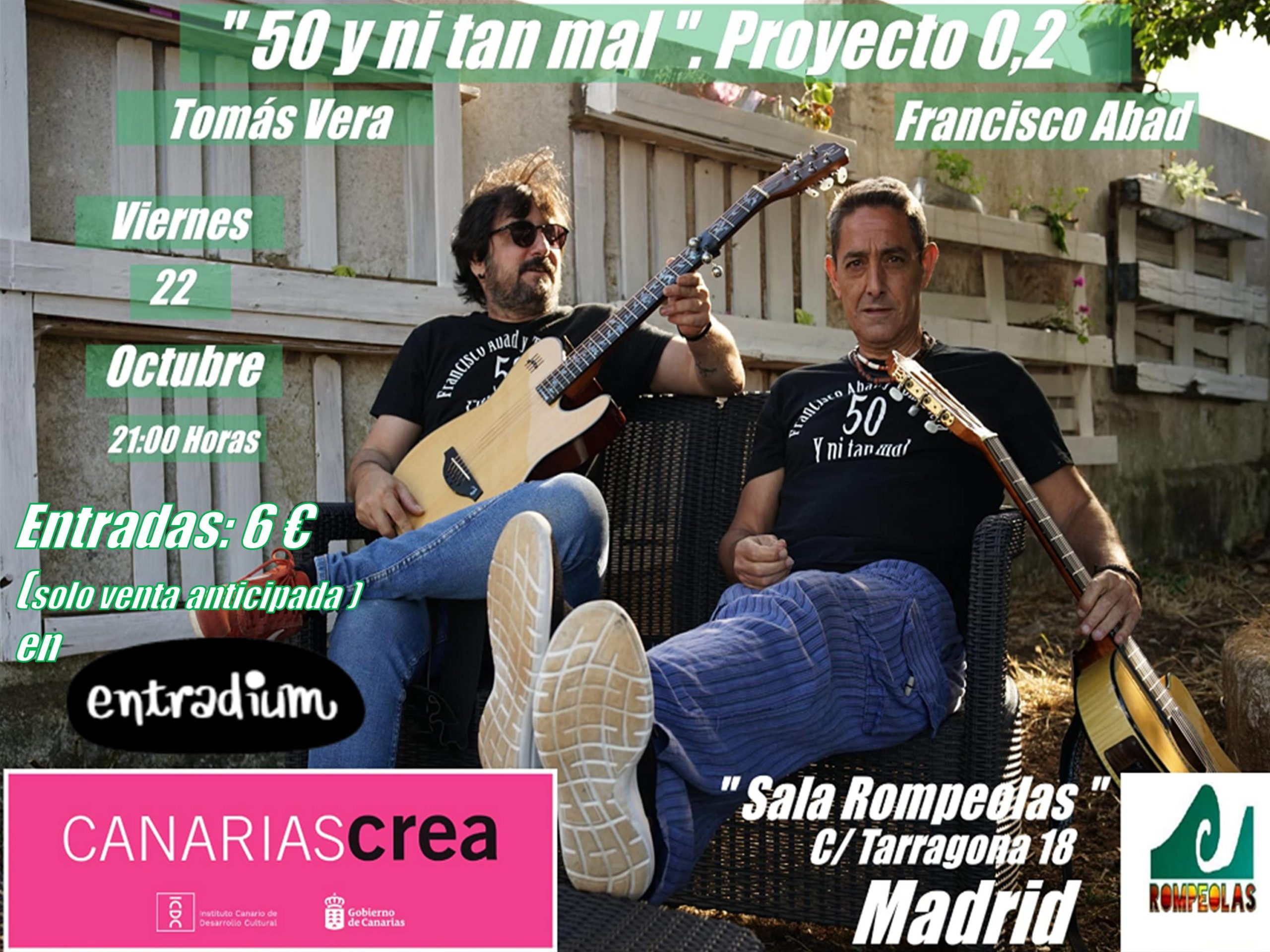 """""""50 y ni tan mal"""": Francisco Abad y Tomás Vera, canción de autor. @ Rompeolas Locales"""